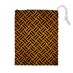 Woven2 Black Marble & Yellow Grunge Drawstring Pouches (extra Large)