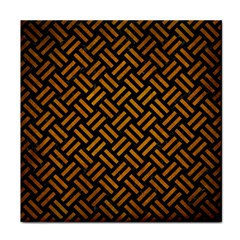 Woven2 Black Marble & Yellow Grunge (r) Tile Coasters