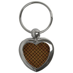 Woven2 Black Marble & Yellow Grunge (r) Key Chains (heart)