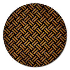Woven2 Black Marble & Yellow Grunge (r) Magnet 5  (round)