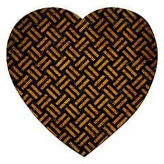 Woven2 Black Marble & Yellow Grunge (r) Jigsaw Puzzle (heart)