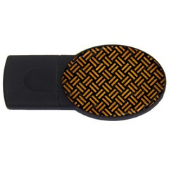 Woven2 Black Marble & Yellow Grunge (r) Usb Flash Drive Oval (4 Gb)