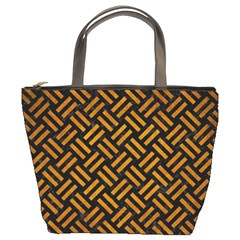 Woven2 Black Marble & Yellow Grunge (r) Bucket Bags