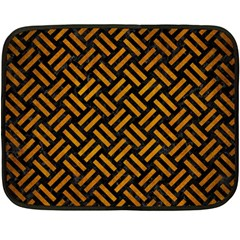 Woven2 Black Marble & Yellow Grunge (r) Double Sided Fleece Blanket (mini)