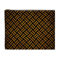 Woven2 Black Marble & Yellow Grunge (r) Cosmetic Bag (xl)