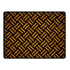 Woven2 Black Marble & Yellow Grunge (r) Fleece Blanket (small)