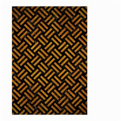 Woven2 Black Marble & Yellow Grunge (r) Small Garden Flag (two Sides)