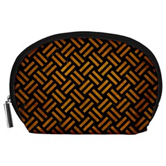 Woven2 Black Marble & Yellow Grunge (r) Accessory Pouches (large)