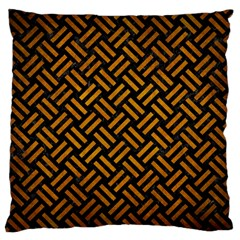 Woven2 Black Marble & Yellow Grunge (r) Standard Flano Cushion Case (two Sides)