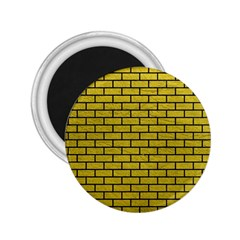 Brick1 Black Marble & Yellow Leather 2 25  Magnets