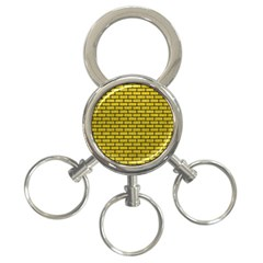 Brick1 Black Marble & Yellow Leather 3 Ring Key Chains