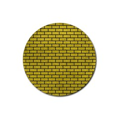 Brick1 Black Marble & Yellow Leather Rubber Round Coaster (4 Pack)