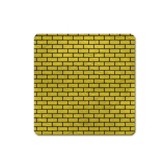 Brick1 Black Marble & Yellow Leather Square Magnet