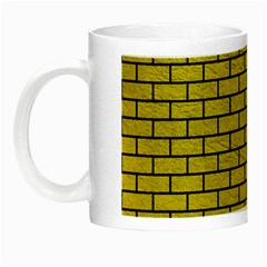 Brick1 Black Marble & Yellow Leather Night Luminous Mugs
