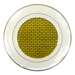 Brick1 Black Marble & Yellow Leather Porcelain Plates