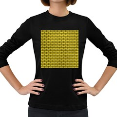 Brick1 Black Marble & Yellow Leather Women s Long Sleeve Dark T Shirts