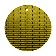 Brick1 Black Marble & Yellow Leather Round Ornament (two Sides)