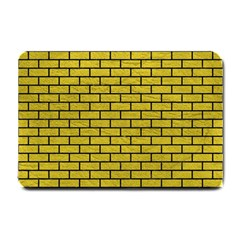 Brick1 Black Marble & Yellow Leather Small Doormat