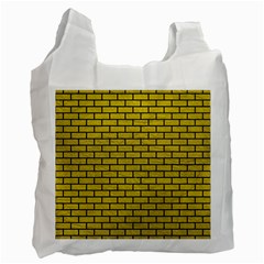 Brick1 Black Marble & Yellow Leather Recycle Bag (two Side)