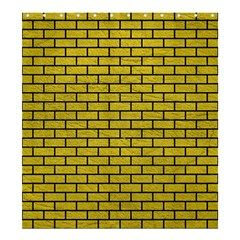 Brick1 Black Marble & Yellow Leather Shower Curtain 66  X 72  (large)