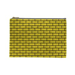 Brick1 Black Marble & Yellow Leather Cosmetic Bag (large)