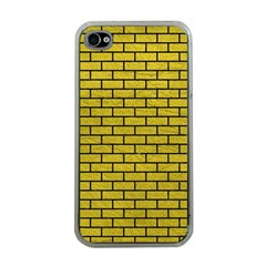 Brick1 Black Marble & Yellow Leather Apple Iphone 4 Case (clear)