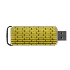 Brick1 Black Marble & Yellow Leather Portable Usb Flash (two Sides)