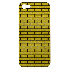 Brick1 Black Marble & Yellow Leather Apple Iphone 5 Hardshell Case
