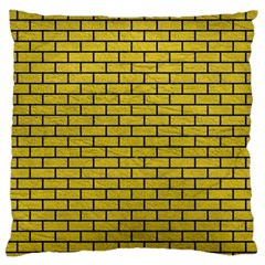 Brick1 Black Marble & Yellow Leather Standard Flano Cushion Case (one Side)