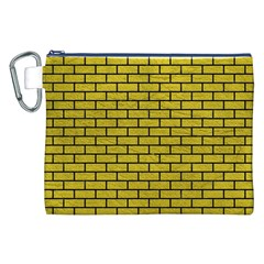 Brick1 Black Marble & Yellow Leather Canvas Cosmetic Bag (xxl)