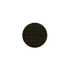 Brick1 Black Marble & Yellow Leather (r) 1  Mini Magnets