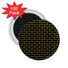 Brick1 Black Marble & Yellow Leather (r) 2 25  Magnets (100 Pack)
