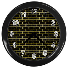Brick1 Black Marble & Yellow Leather (r) Wall Clocks (black)