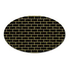 Brick1 Black Marble & Yellow Leather (r) Oval Magnet