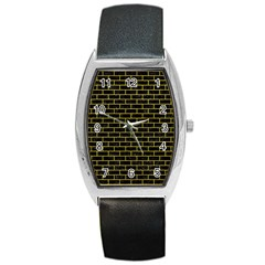 Brick1 Black Marble & Yellow Leather (r) Barrel Style Metal Watch