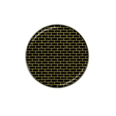 Brick1 Black Marble & Yellow Leather (r) Hat Clip Ball Marker (10 Pack)