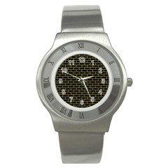 Brick1 Black Marble & Yellow Leather (r) Stainless Steel Watch