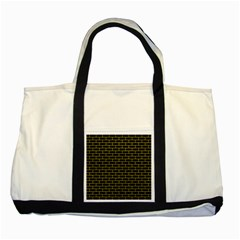 Brick1 Black Marble & Yellow Leather (r) Two Tone Tote Bag