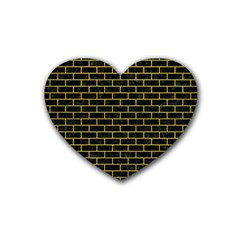 Brick1 Black Marble & Yellow Leather (r) Rubber Coaster (heart)