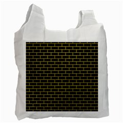 Brick1 Black Marble & Yellow Leather (r) Recycle Bag (two Side)