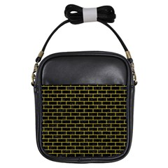 Brick1 Black Marble & Yellow Leather (r) Girls Sling Bags