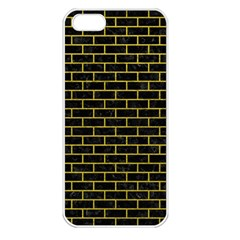 Brick1 Black Marble & Yellow Leather (r) Apple Iphone 5 Seamless Case (white)