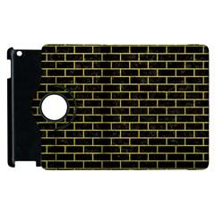 Brick1 Black Marble & Yellow Leather (r) Apple Ipad 3/4 Flip 360 Case