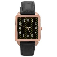 Brick1 Black Marble & Yellow Leather (r) Rose Gold Leather Watch