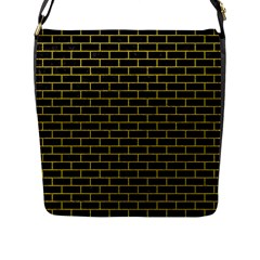Brick1 Black Marble & Yellow Leather (r) Flap Messenger Bag (l)