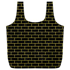 Brick1 Black Marble & Yellow Leather (r) Full Print Recycle Bags (l)