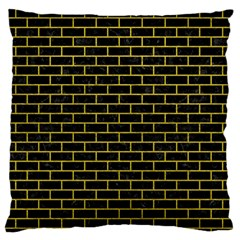 Brick1 Black Marble & Yellow Leather (r) Large Flano Cushion Case (one Side)