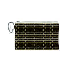 Brick1 Black Marble & Yellow Leather (r) Canvas Cosmetic Bag (s)