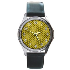 Brick2 Black Marble & Yellow Leather Round Metal Watch