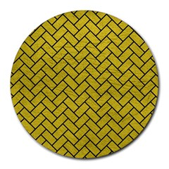 Brick2 Black Marble & Yellow Leather Round Mousepads